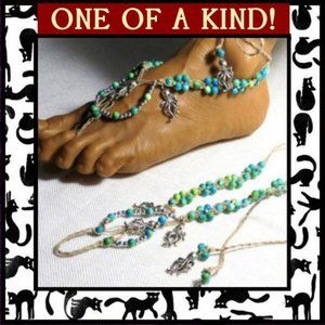 Octopus & Blue Green Stone Barefoot Sandals